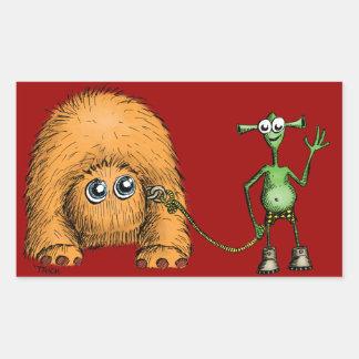 Alien Pet Walk Rectangular Sticker