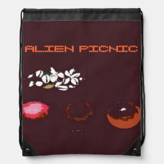 Alien Picnic Surreal Drawstring Backpack Drawstring Backpack