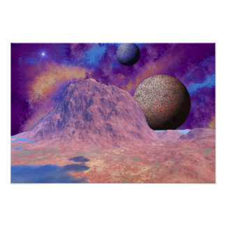 Alien Planet And Moons Space Scene Poster