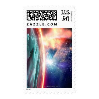Alien planet, computer artwork. postage