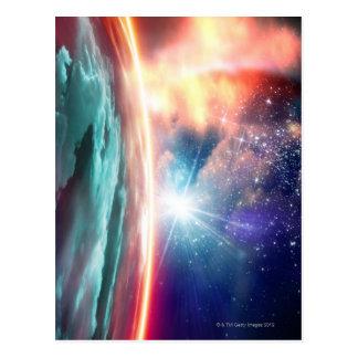 Alien planet, computer artwork. postcard
