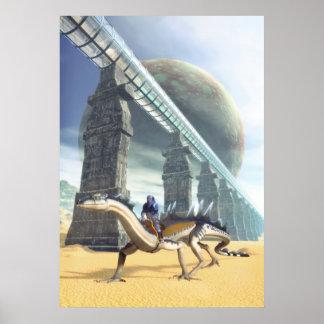 Alien planet landscape poster