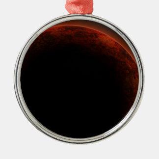 Alien planet metal ornament