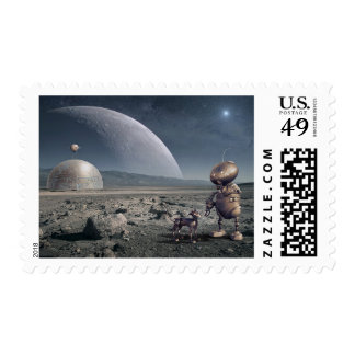 Alien Planet Robot Dog Space Moon Stamp