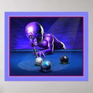 Alien Playing Pool Poster