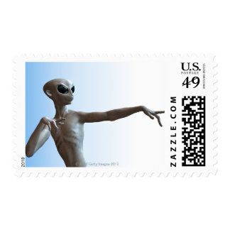 Alien Pointing Postage Stamp
