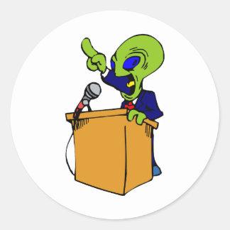 Alien Politician Classic Round Sticker