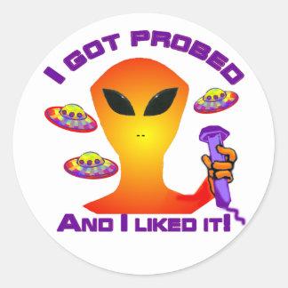 Alien Probe Classic Round Sticker