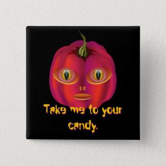 Alien Pumpkin Halloween Button