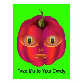 Alien Pumpkin Halloween Postcard