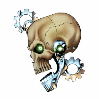 Alien Robot Skull from the Future in Chrome + Bone Cutout