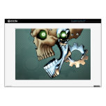 "Alien Robot Skull from the Future in Chrome + Bone Decal For 15"" Laptop"