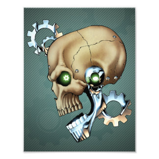 Alien Robot Skull from the Future in Chrome + Bone Photo Print