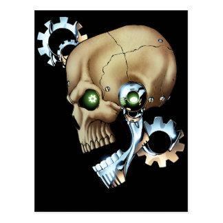 Alien Robot Skull from the Future in Chrome + Bone Postcards