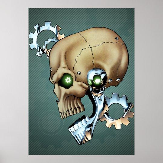 Alien Robot Skull from the Future in Chrome + Bone Poster