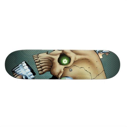 Alien Robot Skull from the Future in Chrome + Bone Skate Boards