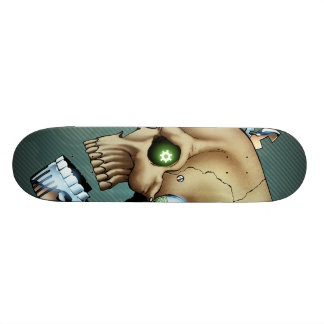 Alien Robot Skull from the Future in Chrome + Bone Skateboard Deck