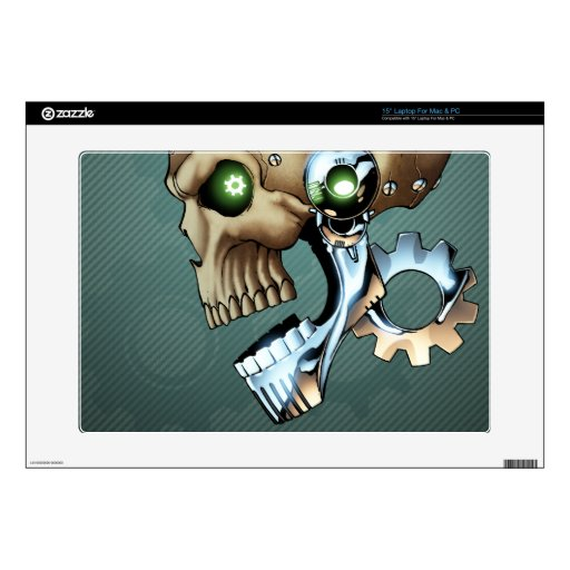 """Alien Robot Skull from the Future in Chrome + Bone Decals For 15"""" Laptops"""