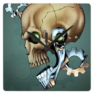 Alien Robot Skull from the Future in Chrome + Bone Square Wall Clock