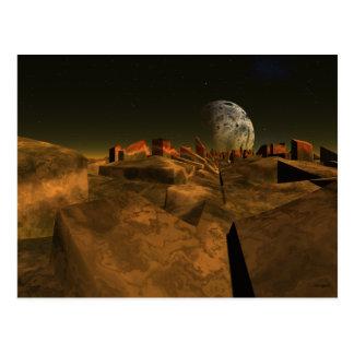 Alien Ruins Sci Fi Art Postcard