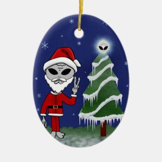 Alien Santa Ceramic Ornament