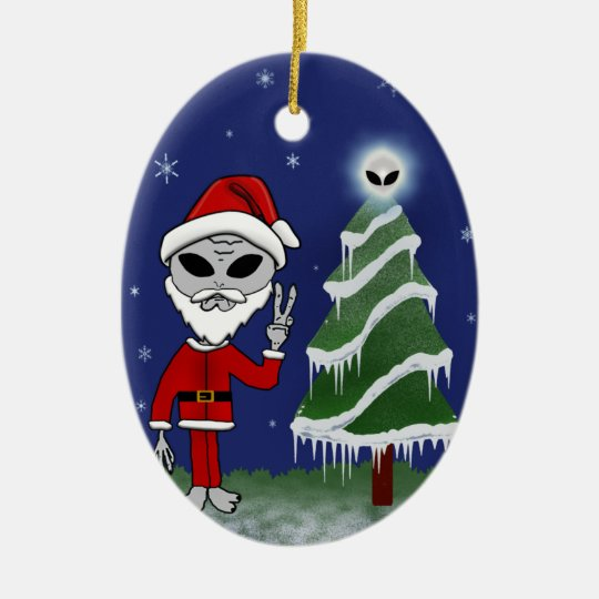 Alien Santa Ceramic Ornament