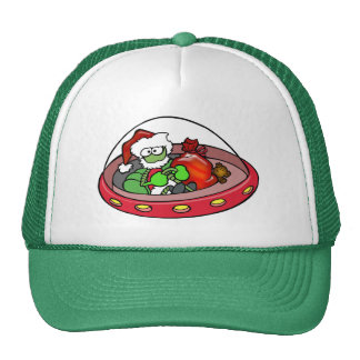 Alien Santa in UFO: Out of this world Christmas! Trucker Hats