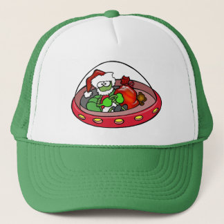 Alien Santa in UFO: Out of this world Christmas! Trucker Hat