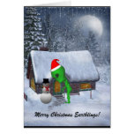 Alien Santa Meets Snowman Greeting Card