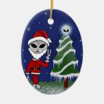 Alien Santa Double-Sided Oval Ceramic Christmas Ornament