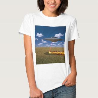 Alien Ship Burning landscape T-shirt