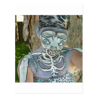 Alien Skeleton Paintings From Body Art! Bodypaint Postcard