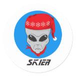 Alien Skier Classic Round Sticker