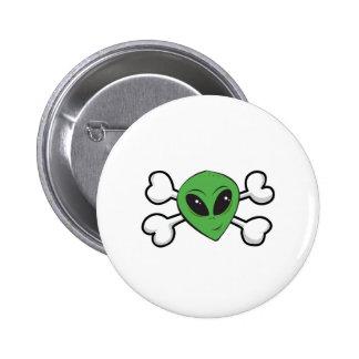 Alien Skull and Crossbones Pinback Buttons