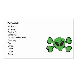 Alien Skull Green Crossbones Business Card