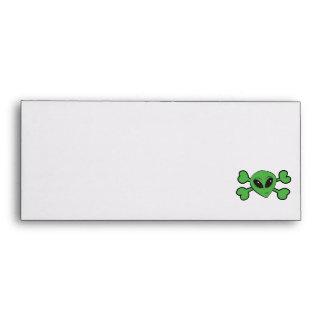 Alien Skull Green Crossbones Envelopes