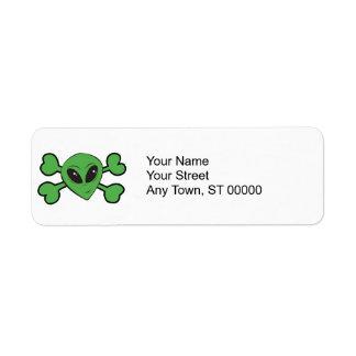 Alien Skull Green Crossbones Label
