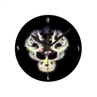 Alien skull round clock