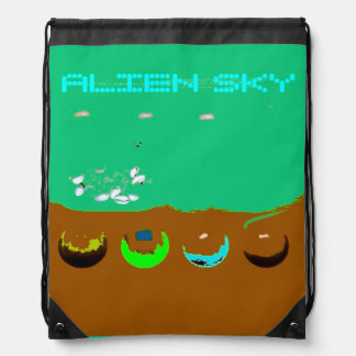 Alien Sky Surreal Drawstring Backpack Drawstring Bag