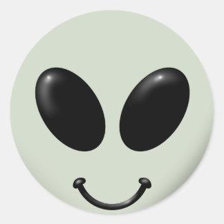 Alien Smiley Face Classic Round Sticker