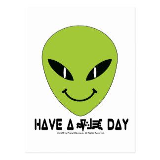 Alien Smiley Face Postcard