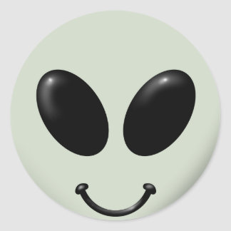 Alien Smiley Face Classic Round Sticker