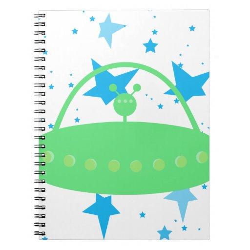 Alien Space Ship Spiral Notebooks