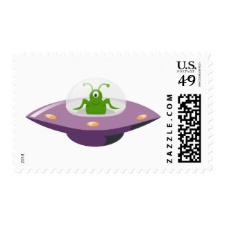 Alien Space Ship UFO Flying Saucer Rocket Stamp