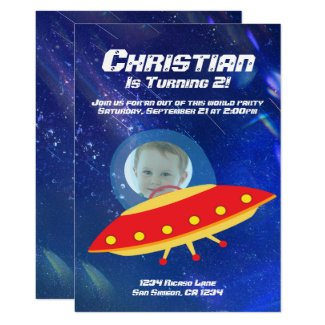 Alien Spaceship Astronaut Outer Space Birthday Card