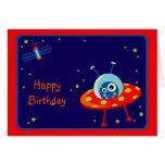 Alien Spaceship Birthday Card
