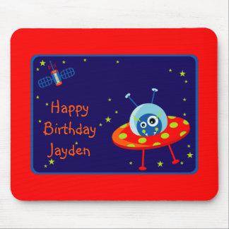 Alien Spaceship Birthday Mousepad