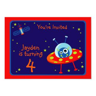 "Alien Spaceship Birthday Party  Invitation 5"" X 7"" Invitation Card"