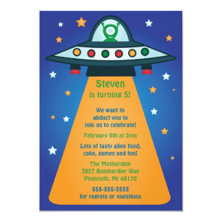 Alien Spaceship Birthday Party Invitations
