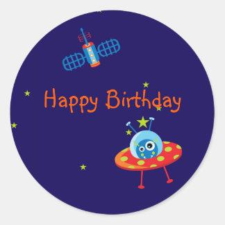 Alien Spaceship Birthday Stickers